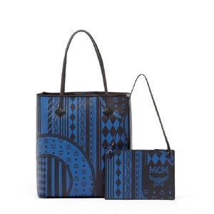 MCM Kira Baroque Print Leather Tote in Munich Blue